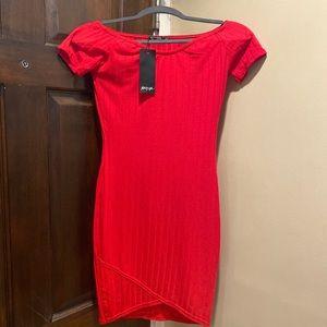 Nasty Gal Off Shoulder Red Dress